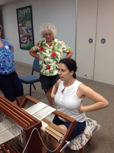 Heather showing ideal posture at the loom