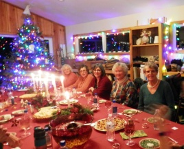 Nancy's Christmas dinner for the Guild in her weaving studio