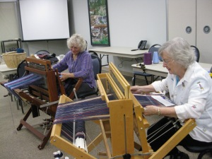 Laura and Betty weaving