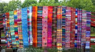 Samples of Saori weaving