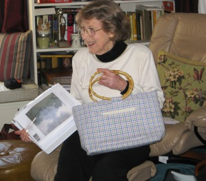 """Jacque drew her inspiration from Monet's """"Morning Mist"""" on the Seine and wove the fabric for a knitting bag."""