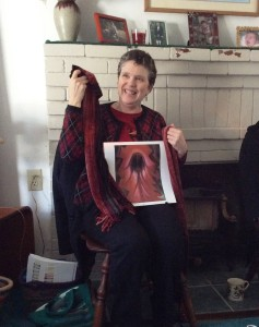 """Kathy, using Georgia O'Keefe's """"Inside a Red Canna,"""" created two scarves with different weft densities in chenille."""