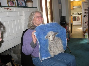 Laura was inspired by a picture of a sheep, which she reproduced in felting and applied fleece--a spectacular interpretation.