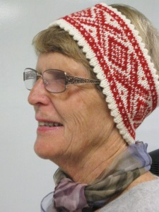 Anne models a Norwegian knitted headband