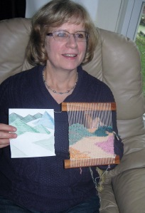 Linda with cartoon and tapestry