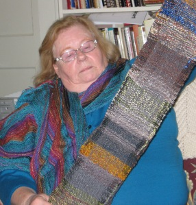 Nancy with scarf inspired by a book