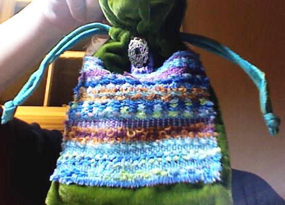Sarah's velvet bag