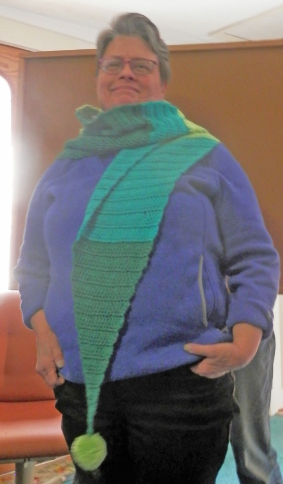 Diane shared her brightly colored crocheted scarf with large pom-pom ends.