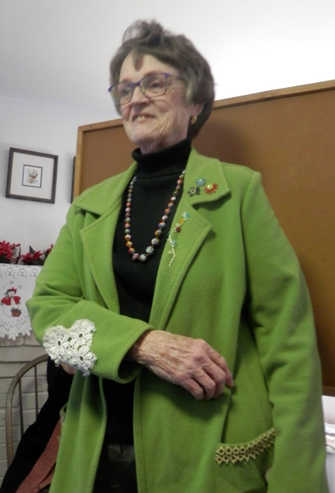 Mary took one of her jackets and created a one-of-a-kind piece by adding embroidery.