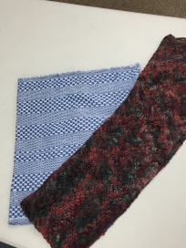 "More members' ""Show and Tell"": a huck dishtowel and knit scarf"