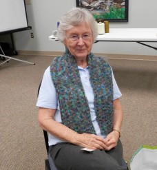 Show and tell Betty's knitted scarf