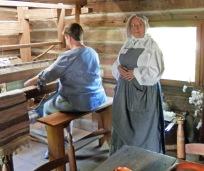 Kate weaves on 180-year-old loom