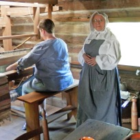 Kate weaves on 180-year-old loom