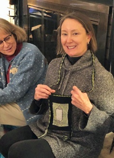 Andy made a bag in which she incorporated some of her favorite things: her dog's hair, Inkle loom weaving and Glen Brown art work.
