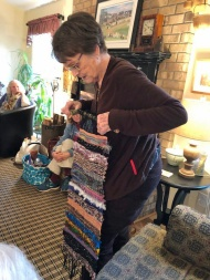 Mary challenged herself to created a colorful, woven wall hanging to illustrate her love of color and oil painting.