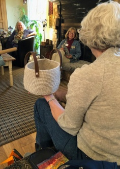 Teri explained that she came from a family of crocheters and created a beautiful crocheted basket with leather straps to honor her family's tradition.