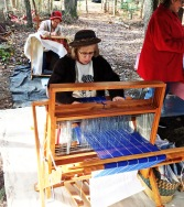 Linda brought a floor loom from home to demonstrate weaving